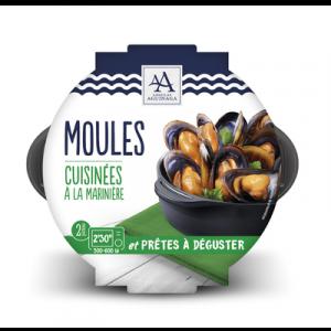 Moule cuite marinière, Mytilus galloprovincialis, transformée en Espagne, barquette de 500g