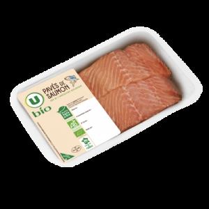 Pavé de saumon atlantique avec peau, salmo salar, U BIO, élevé en Irlande, 2 pièces, barquette, 250g
