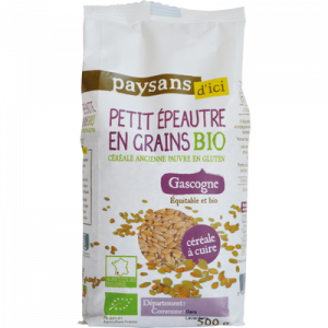 Petit épeautre en grains de Gascogne bio PAYSANS D'ICI, boîte de 500g