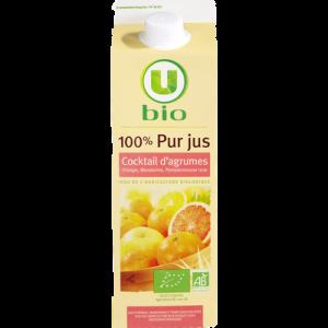 Pur jus cocktail d'agrumes orange mandarine et pamplemousse rose issude l'agriculture biologique U BIO, 1 litre