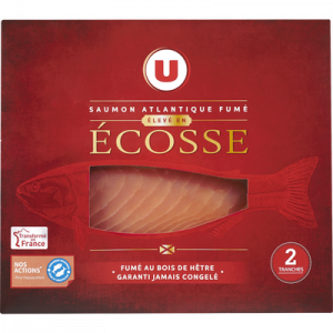 Saumon Atlantique fumé Ecosse U, 2 tranches, 80g