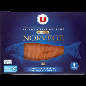 Saumon atlantique fumé Norvège U, 4 tranches, 150g